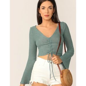 Bell Sleeve Cinched Top With Drawstring